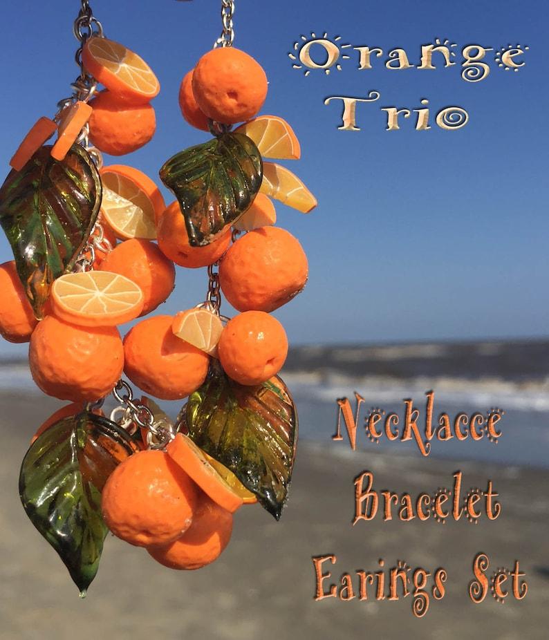 Oranges fruit Retro Inspired 3 piece  Set  Rockabilly jewelry image 0