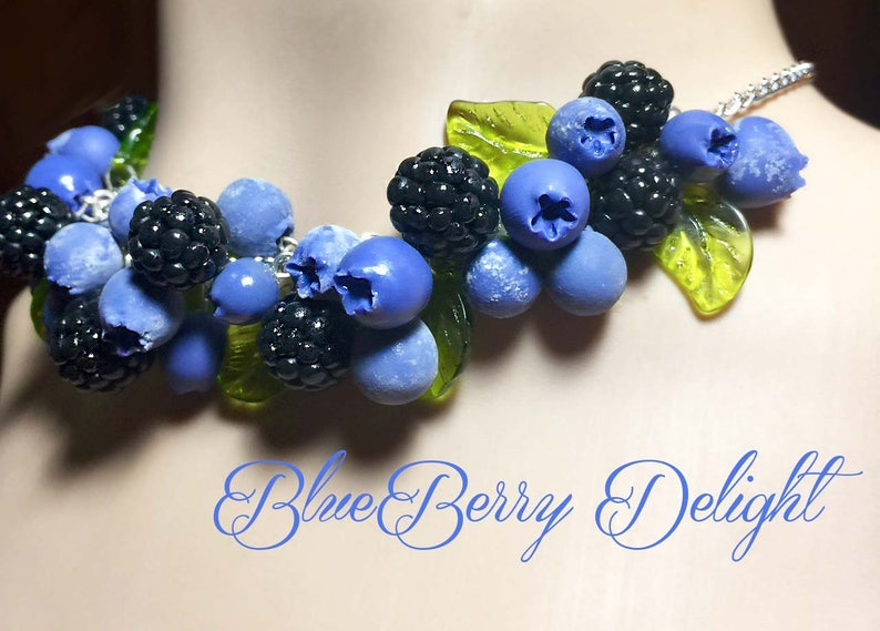 Pinup Rockabilly Retro Blueberry and Blackberry Necklace image 0