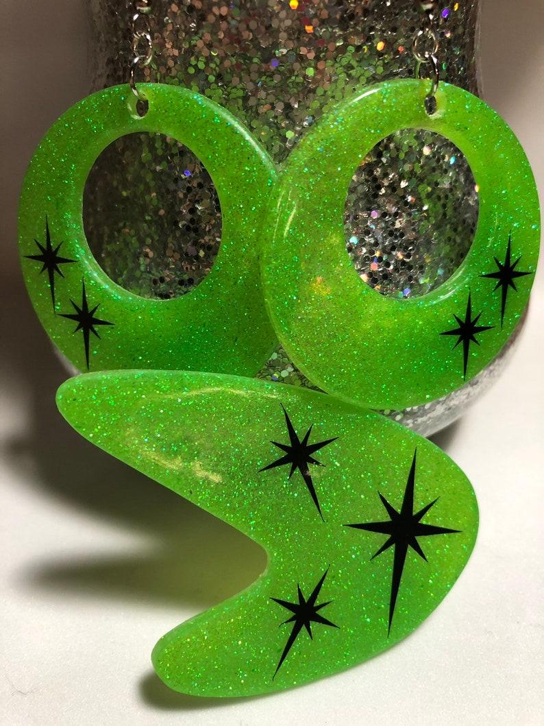 Retro atomic starburst earring set  rockabilly jewelry-retro image 0