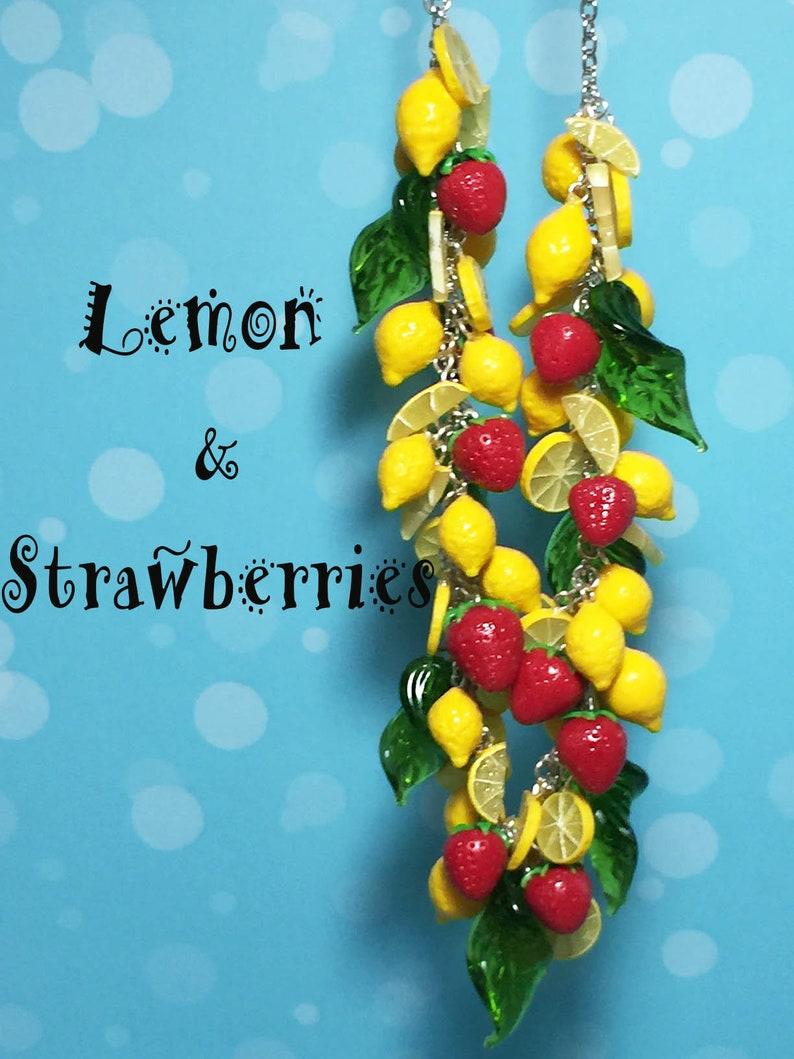 Retro Rockabilly Lemon and Strawberry Necklace image 0