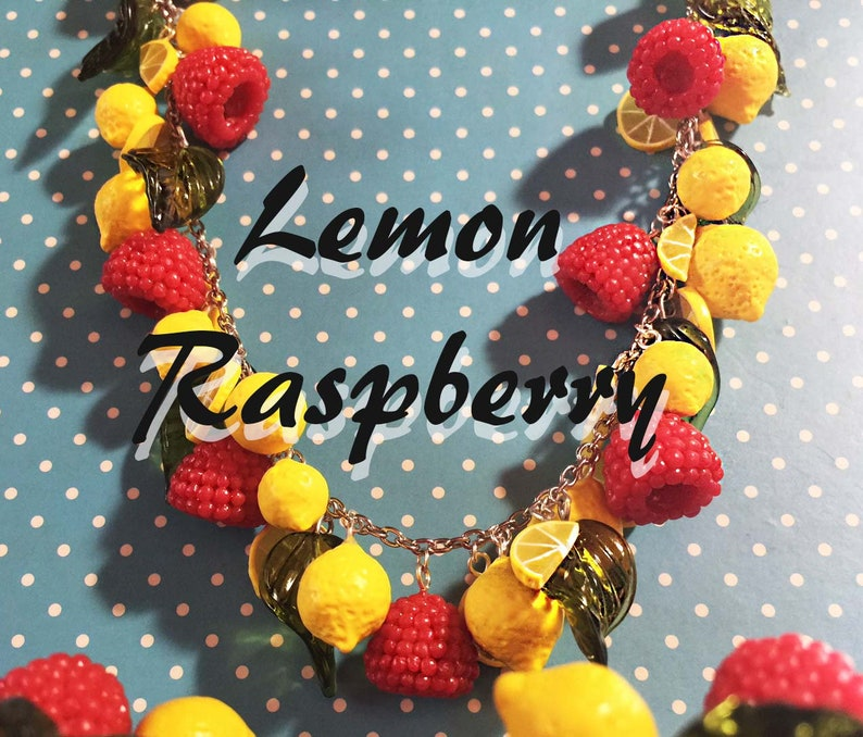 Raspberry Lemonade Pinup Retro Vintage Rockabilly Necklace image 0