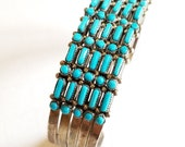 Vintage 5 Row Dot and Dash Sterling Silver and Turquoise Cuff Bracelet Zuni Native American Petit Needle Point 55 Stones