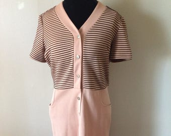 1970's  Striped Black + Tan Dress // Beautiful Vintage Bodycon Dress WITH POCKETS!