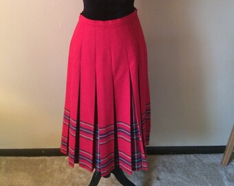 Vintage Red Plaid Pleated Skirt // Red Plaid Accented Wool Blend Skirt