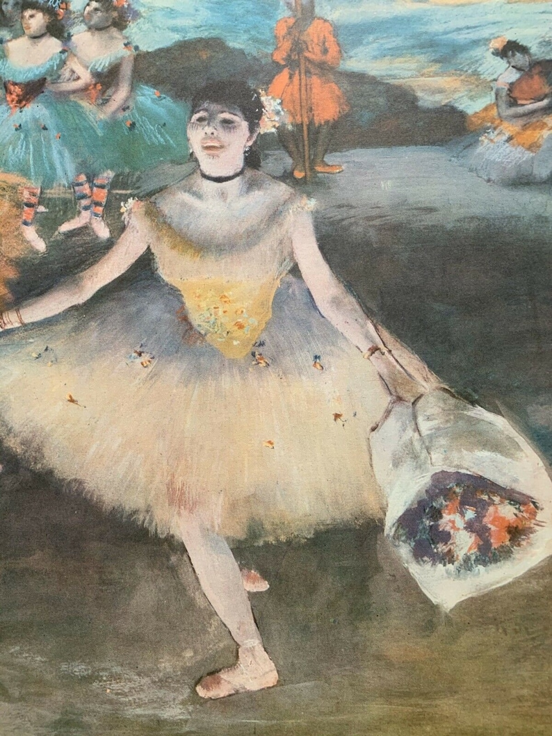 Original Edgar Degas Dancer With Bouquet Vintage 1955 Muesuem Art Print