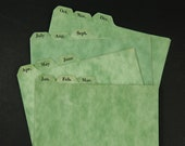 "Monthly Index Card File Dividers 4"" x 6"" Vintage 1962 Green Chipboard"
