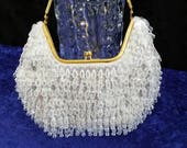 Sequin and Bead White Purse w/ Goldtone Handle and Clasp Vintage La Regale LTD