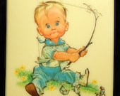 Little Boy Fishing Wall Plaque Celluloid 1962 Pete Hawley Crofton Plastics