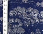 Holiday Print Blue Fabric Silver Winter Scene One Yard