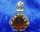 """Vintage Goldtone and Amber Glass Perfume Bottle with Rhinestones 2-3/4"""" tall"""