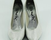 Silver Shoes Vintage 80's Dancin' Brand Heels 7-1/2 B Flex Sole