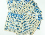 Bingo Cards Lot of 8 Vintage 1941 Lowe Blue Print on Off-White Cardstock
