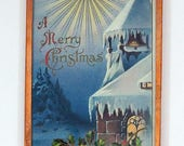 Embossed Merry Christmas Postcard Vintage 1910 H Wessler Framed in Copper