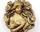 Art Nouveau Stamped Brass 6 Button Covers Girl Flowing Hair and Flowers