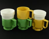 4 Vintage Solo Dixie Cozy Cup holders with 9 Plastic Solo Dixie Cup Inserts