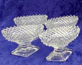 Oval Clear Cut Glass with Diamond Shape Base 4 Open Salt Dishes