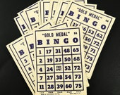 "Large Bingo Cards Lot of 8 Vintage 1940s Transogram Cardboard 6.75"" x 5"" Blue Print on Tan Cardstock"