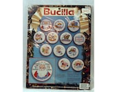 Santa's Workshop Set of 12 Counted Cross Stitch Ornaments Bucilla 83046 Vtg 1993 Kit