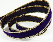 Wire Edged Purple Velvet Christmas Ribbon .62 Inch Wide 10 Yards With Gold Edge