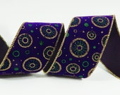 Wire Edged Purple Velvet Christmas Ribbon 2-1/2 Inch Wide 10 Yards with Gold and Green Glitter