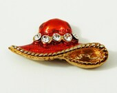 Red Hat Cloisonné Enamel Bead with Rhinestones