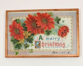 A Merry Christmas Postcard Vintage Posted 1913 Framed in Copper SB Serie No 7160