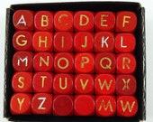 Letter Dice Red Set of 30 Vintage 6 Sided Wood Spelling Games