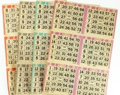 Bingo Cards Large Paper Sheets Lot of 7 with 6 Cards Per Sheet