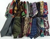 Neckties Lot of 20 Mixed Vintage and Current Ties for Crafts, Quilting, or Projects Silk Polyester Cotton Wool