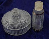 Square Cut Clear Glass Round Powder Box Perfume Bottle Vanity Set Vintage 1960s