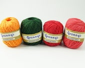 Vintage Lot of 4 Granny's Mercerized Thread 100% Cotton 340 Yards Green Orange Red Pink