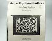 Geometric Cut Away Applique Wall Hanging Kit The Valley Handcrafters Vintage 80s Black and White