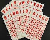 Bingo Cards Lot of 6 Vintage 1980 Pressman Red Print on White Gloss Cardstock