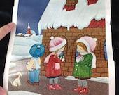 Tokyo Bunka Punch Embroidery Picture Set Children Winter Snow Kit