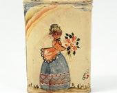 Vintage Folk Art Painting on Prince Albert Tobacco Pocket Tin Primitive