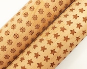 Embossing Wood Rolling Pin Star or Snowflake Laser Engraved Christmas Holiday Baking
