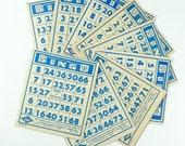 Bingo Cards Lot of 8 Vintage 1941 Lowe Blue Print on Off-White Cardstock