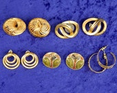 Vintage Goldtone Pierced Earrings Lot of 5 Pairs One Marked Napier