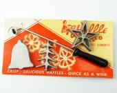 Hirco Waffle Mold Set of Holiday Irons Made of Cast Aluminum Vintage 1950's