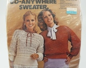 The Go-Anywhere Sweater Knit or Crochet Kit MH Yarns Vintage 1979 Gray Yarn