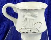 Vintage Christmas Mug Handpainted Embossed Ceramic  White and Gold