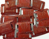 Vintage Farmers Cooperative Stamped Numbered Metal Tags Slotted Red Davidson Co-op Assn Oklahoma Set of 3 Assorted