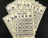 "Large Bingo Cards Lot of 8 Vintage 1940s Transogram Cardboard 6.75"" x 5"" Blue Print on Tan Cardstock"