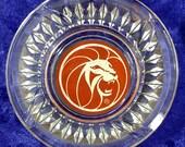 MGM Grand Hotel Vintage Glass Lion's Head Glass Ash Tray Las Vegas