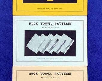 Huck Towel Patterns First Second and Third Series 1936 1937 1940 Mildred Krieg