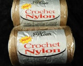J&P Coats Crochet Nylon 2 Skeins 150 Yards Each Crochet Thread Beige #43