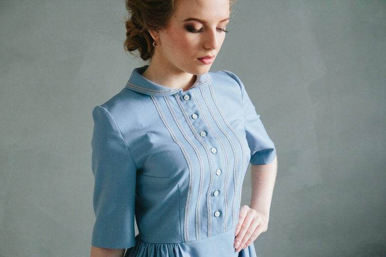 4f3f0925a7 Peter pan collar dress Rustic bridesmaid dress blue spring