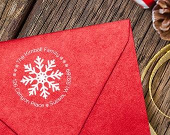 Winter Return Address Stamp // Self-Inking Stamp // Wood Stamp with Handle // Wood Stamp // Snowflake Return Address Stamp