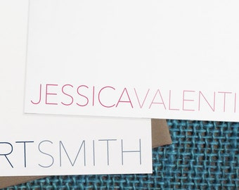 Flat Notecards -- Modern Name // Custom Notecards // Personalized Stationery // Custom Stationery // Coworker Gift // Bridesmaid Gift