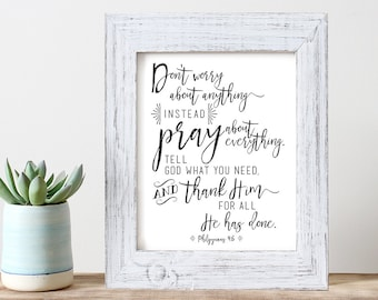 Art Print -- Philippians 4:6 // Inspirational Verse Wall Art // Bible Verse Art Print // Scripture Art Print // Don't worry print